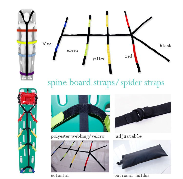 Spine board with head immobilizer and straps